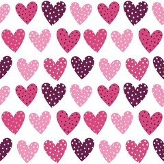 FototapetaCute Pink Hearts With Dots Seamless Pattern