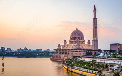 Sunset view of Putra Mosque located in Putrajaya, Kuala Lumpur, Malaysia Wallpaper Mural