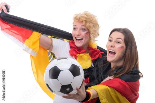 Foto op Aluminium Buffet, Bar frauen feiern fußballsieg für deutschland