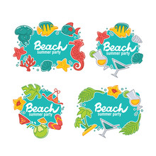 Summer Time And Sea Life, Stickers, Badges And Templates
