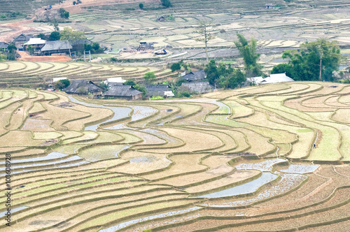 Poster UFO Beautiful terraced rice field after harvest season in sunset in Mu Cang Chai, Vietnam.