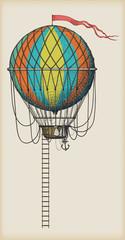 Panel Szklany Do pokoju chłopca Old Air Balloon