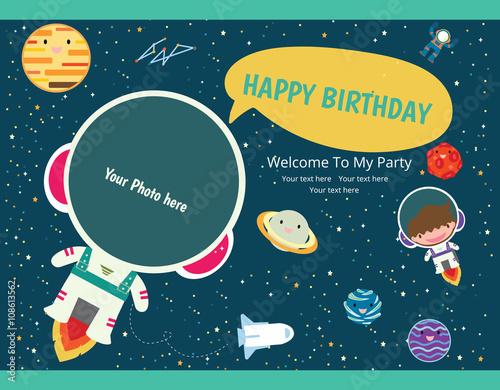 happy birthday invitation card design  Spaceman - Buy this