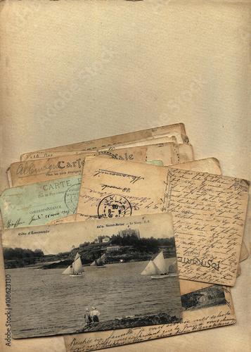 Poster  Почтовая бумага, бланк для письма с ретро открыткой 1900-х и корреспонденцией