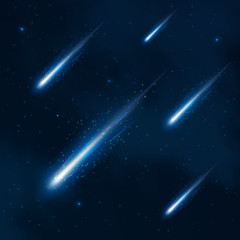 Fototapeta Comet shower in the starry sky. Vector abstract background