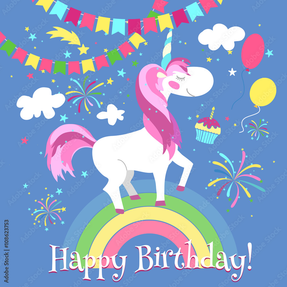 Happy Birthday Card With Cute Unicorn Vector Template Foto Poster