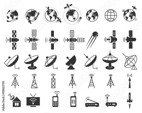 Photo  Satellite icons vector