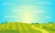 Vector Landscape with Sunny Field . Rural Farm Scenery Illustration.