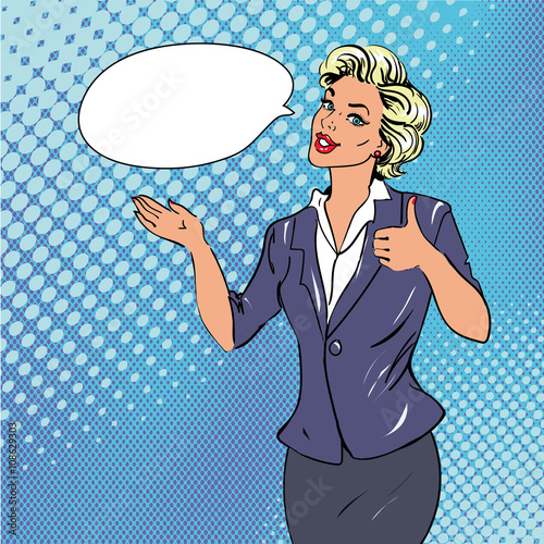 Foto op Plexiglas Pop Art Pop art retro style woman showing thumb up hand sign with speech bubble. Comic drawn design vector illustration
