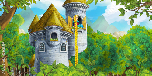 Cartoon fairy tale scene with castle tower - princess in the window - illustration for children