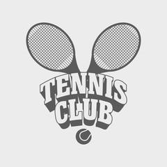 Fototapeta Tenis Tennis club vintage badge, symbol or logo design template.