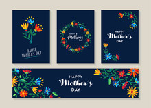 Happy Mothers Day Set Of Flowe...