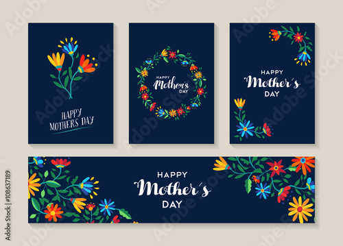 Láminas  Happy mothers day set of flower labels and cards