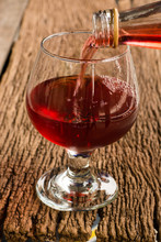 Viewed From The Top Red Wine In A Glass Timber On The Floor Vint