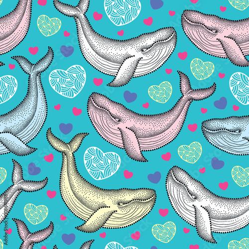 Materiał do szycia Wektor wzór z kropkami Humbak w pastelowych kolorach i serca na turkus tło. Kompozycja lato morskich z wielorybów. Tło dla Walentynki w stylu dotwork.
