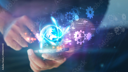 Fotografie, Obraz  Hand touch screen smart phone.Digital technology concept,Social