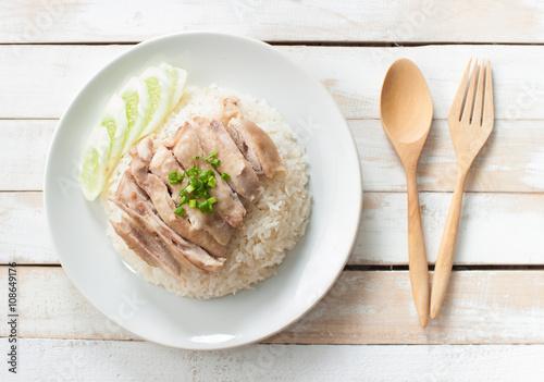 Photo  Hainanese chicken rice , Thai gourmet steamed chicken with rice