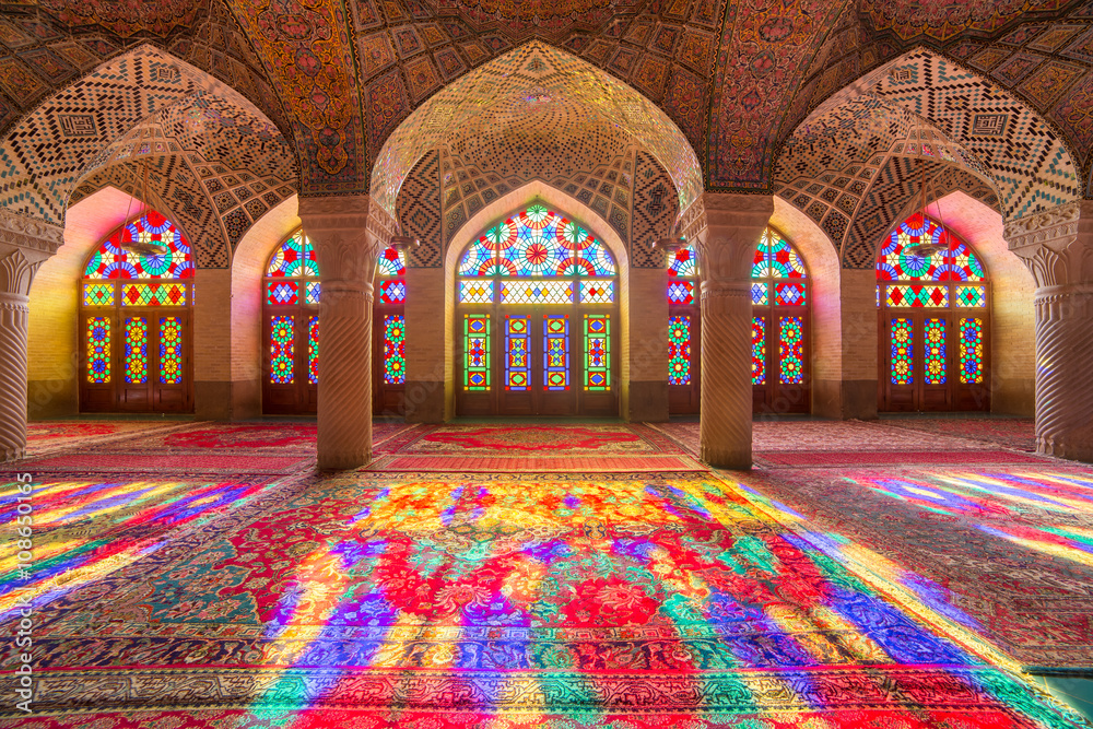 Fototapety, obrazy: Nasir Al-Mulk Mosque in Shiraz, Iran, also known as Pink Mosque
