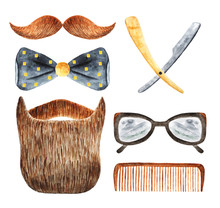 Watercolor Hipster Man Objects Collection