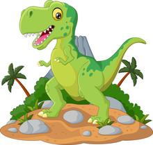 Cartoon Cute Tyrannosaurus Car...