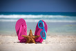Pink flip flops, swimming glasses and starfish on white sandy be