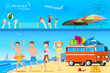 Illustration on the activities on the beach.Tourism on the beach.Summer holidays.Travel by a car.Illustrated books and websites about travel to the sea.Teenage on the Beaches.Graphic and EPS 10.