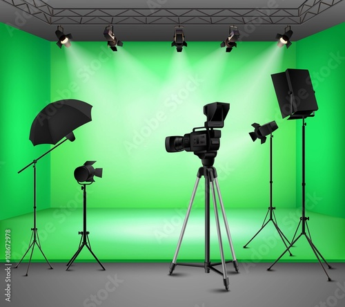 Aluminium Prints Light, shadow Realistic Green Screen Studio Interior