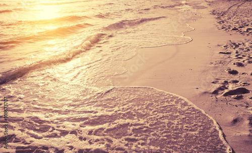Staande foto Oceanië beautiful sunset in morning sea beach , vintage styled tone