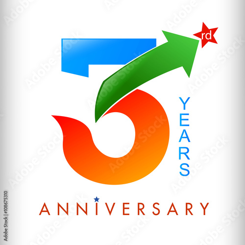 Template Logo 3rd Anniversary Color With Star Vector Illustrator