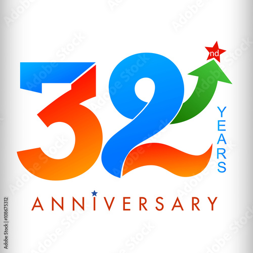 Template Logo 32nd Anniversary Color With Star Vector Ilrator