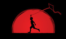 Little Boy Running With Kite Designed On Sunrise Graphic Vector.