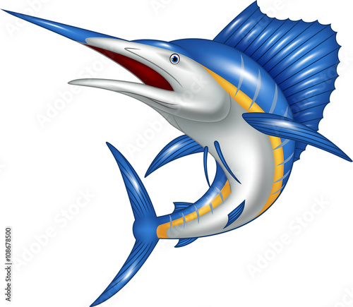 Illustration of blue marlin fish cartoon Wallpaper Mural