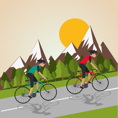 Fototapeta Flat illustration of bike lifesyle design