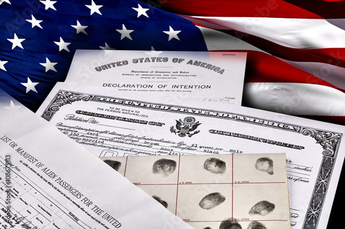 Immigration Identity Documents with US Flag Canvas Print