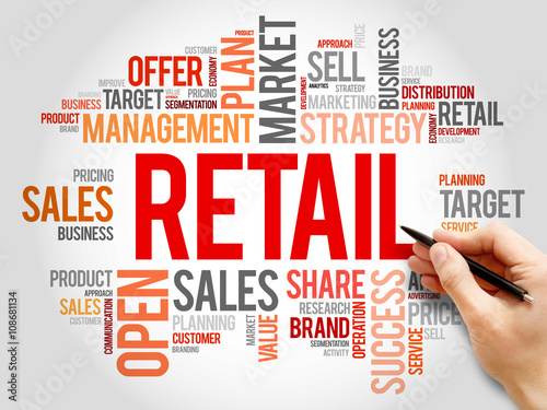 Fotografía  Retail word cloud, business concept