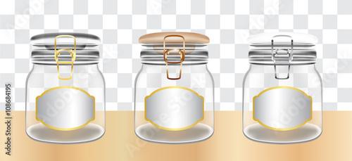 Fotografia Transparent Glass Jars