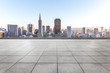 canvas print picture - empty marble floor with cityscap and skyline of san francisco