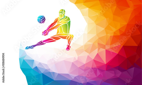 obraz lub plakat Creative silhouette of volleyball player. Team sport vector illustration or banner template in trendy abstract colorful polygon style with rainbow back