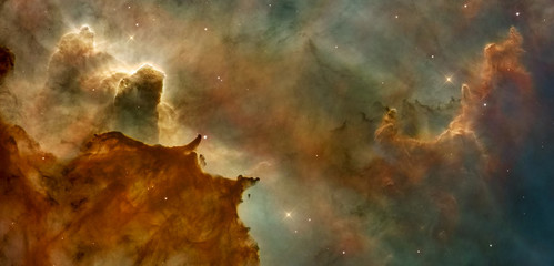 Beautiful nebula in cosmos far away. Retouched image. Elements of this image ...