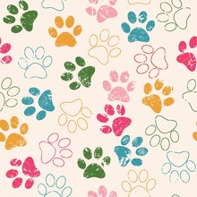 Vector Seamless Pattern With Cat Or Dog Footprints. Cute Colorfu