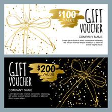 Vector Gift Voucher Template W...