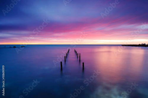Long exposure sea sunrise Wallpaper Mural