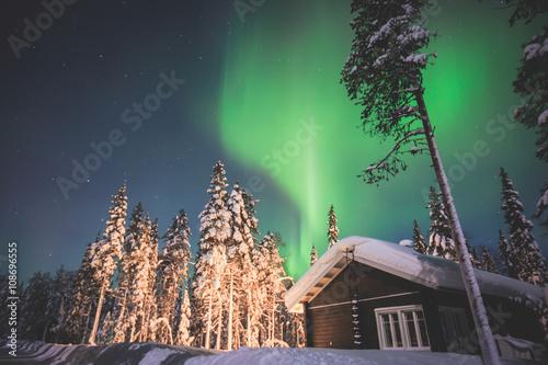 Staande foto Scandinavië Beautiful picture of massive multicoloured green vibrant Aurora Borealis, Aurora Polaris, also know as Northern Lights in the night sky over winter Lapland landscape, Norway, Scandinavia