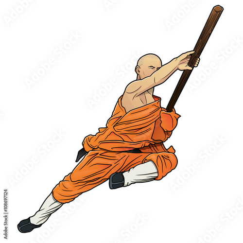 shaolin monk with staff - 108697124