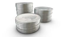 Three Stacks Of Quarter Dollar Coins On White Background. 3d Ren