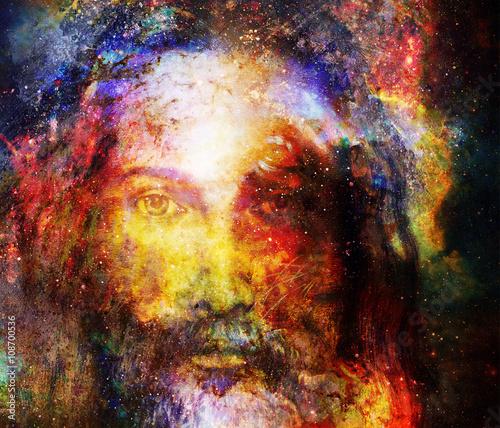 Obraz Obraz Jezusa Chrystusa z promienną kolorową energią światła w kosmicznej przestrzeni - fototapety do salonu
