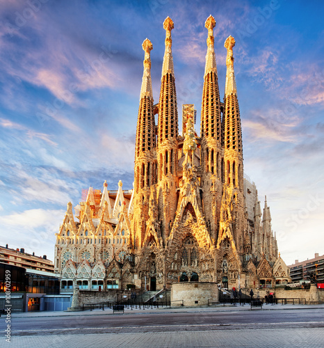 BARCELONA, SPAIN - FEB 10: View of the Sagrada Familia, a large