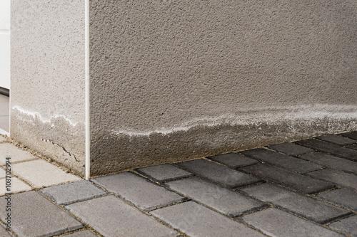 Pfusch am Bau – Aufsteigende Feuchtigkeit und Ausblühungen am Sockel eines Neuba Wallpaper Mural
