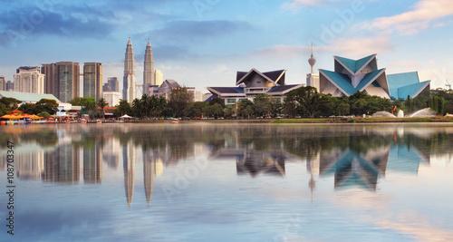 Photo Stands Kuala Lumpur Kuala Lumpur, Malaysia skyline at Titiwangsa Park.