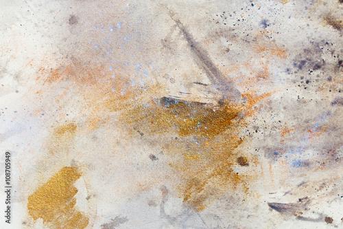 malarstwo-abstrakcyjne-o-rozmytej-i-poplamionej-strukturze-efekt-rdzy-metalicznej-z-ziarnami-brokatu-malowanie-na-starym-papierze